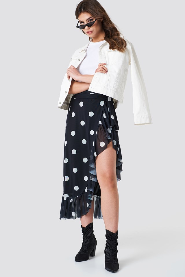 Mesh Overlap Maxi Skirt Black/White dots