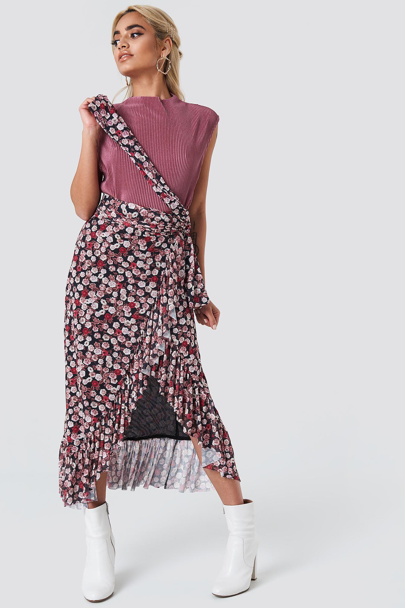 Mesh Overlap Maxi Skirt NA-KD.COM
