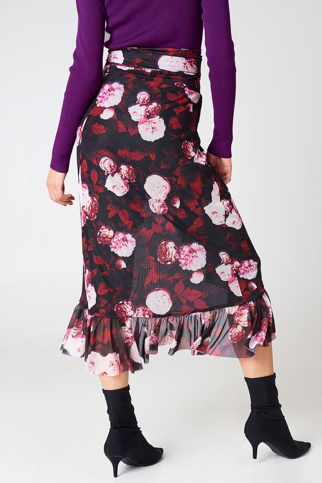 Mesh Overlap Maxi Skirt Red Flower