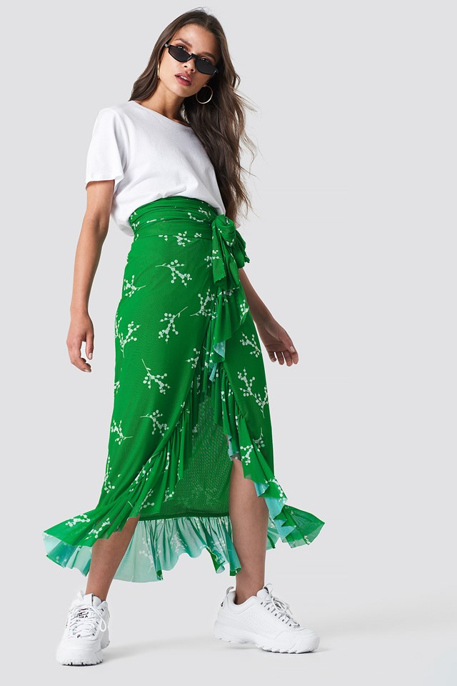 Mesh Overlap Maxi Skirt Green Branch Pattern