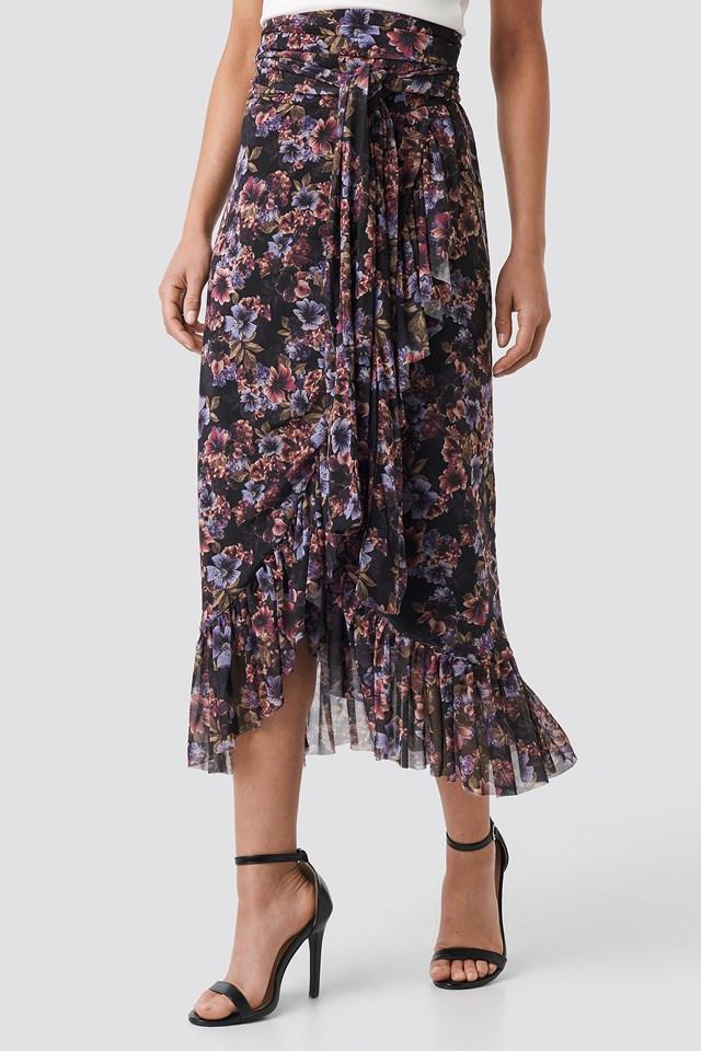 Mesh Overlap Maxi Skirt Blue Carnesbill