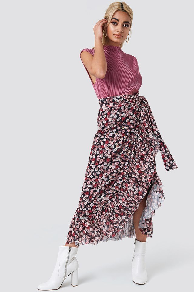 Mesh Overlap Maxi Skirt Small Pink/Red Flowers