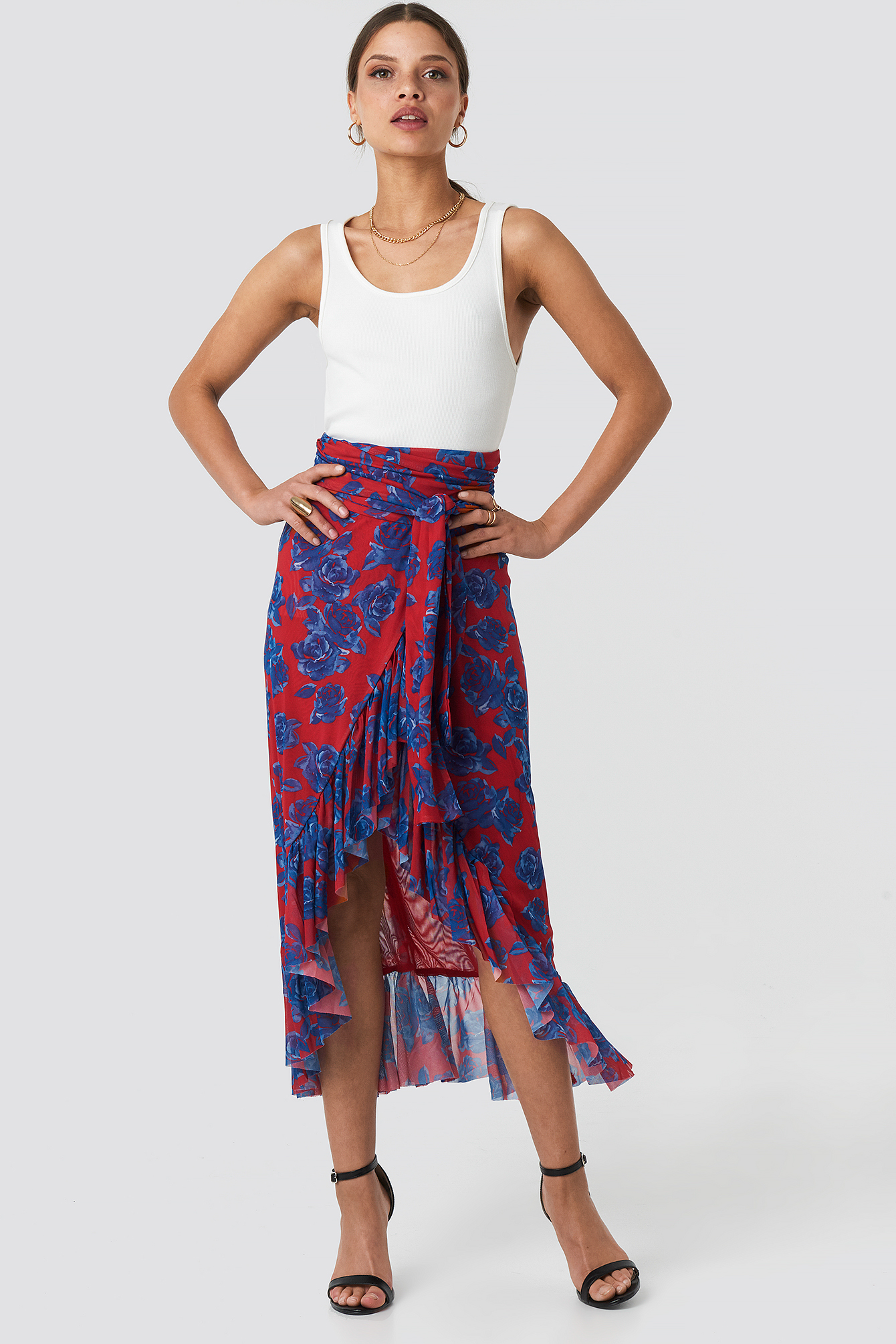 na-kd trend -  Mesh Overlap Maxi Skirt - Red,Multicolor