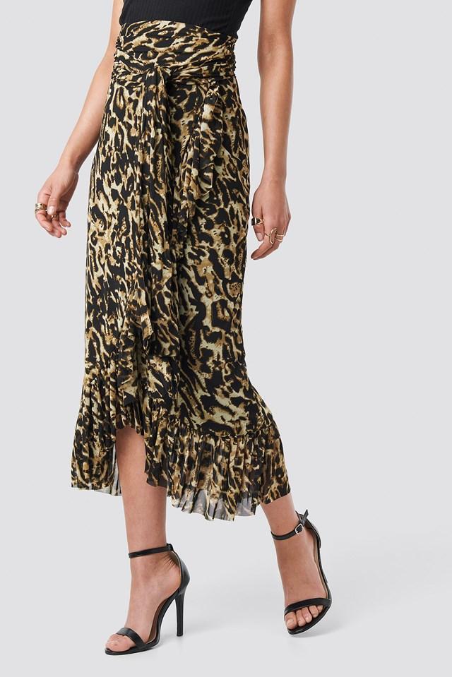 Mesh Overlap Maxi Skirt Leoprint
