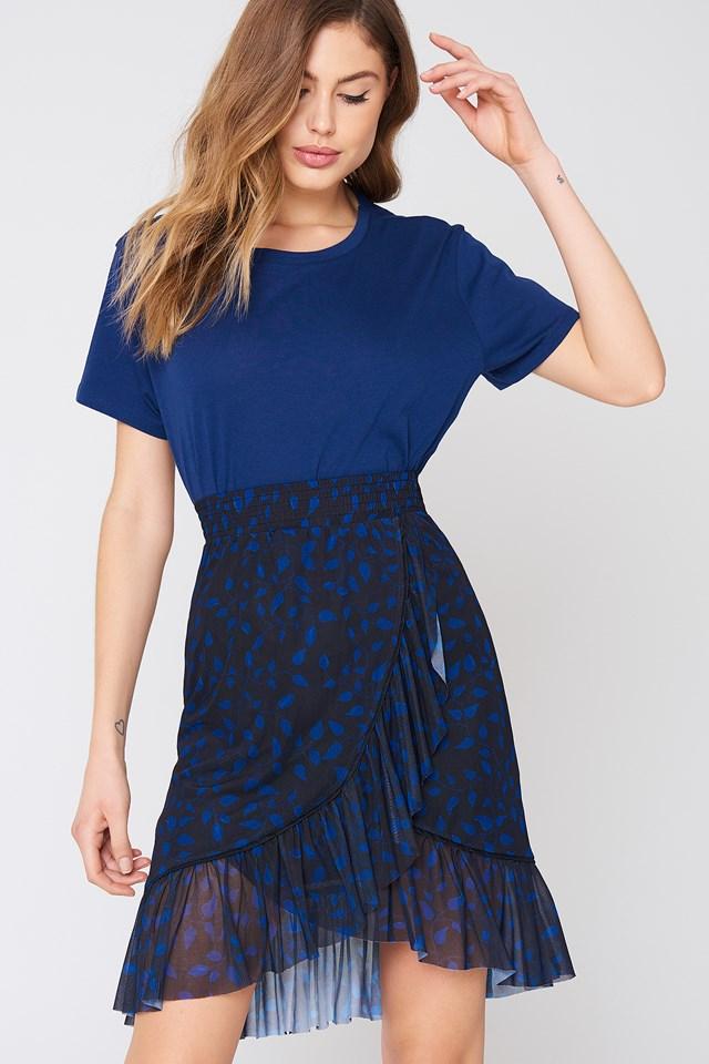 Mesh Overlap Mini Skirt Black/Blue Pattern