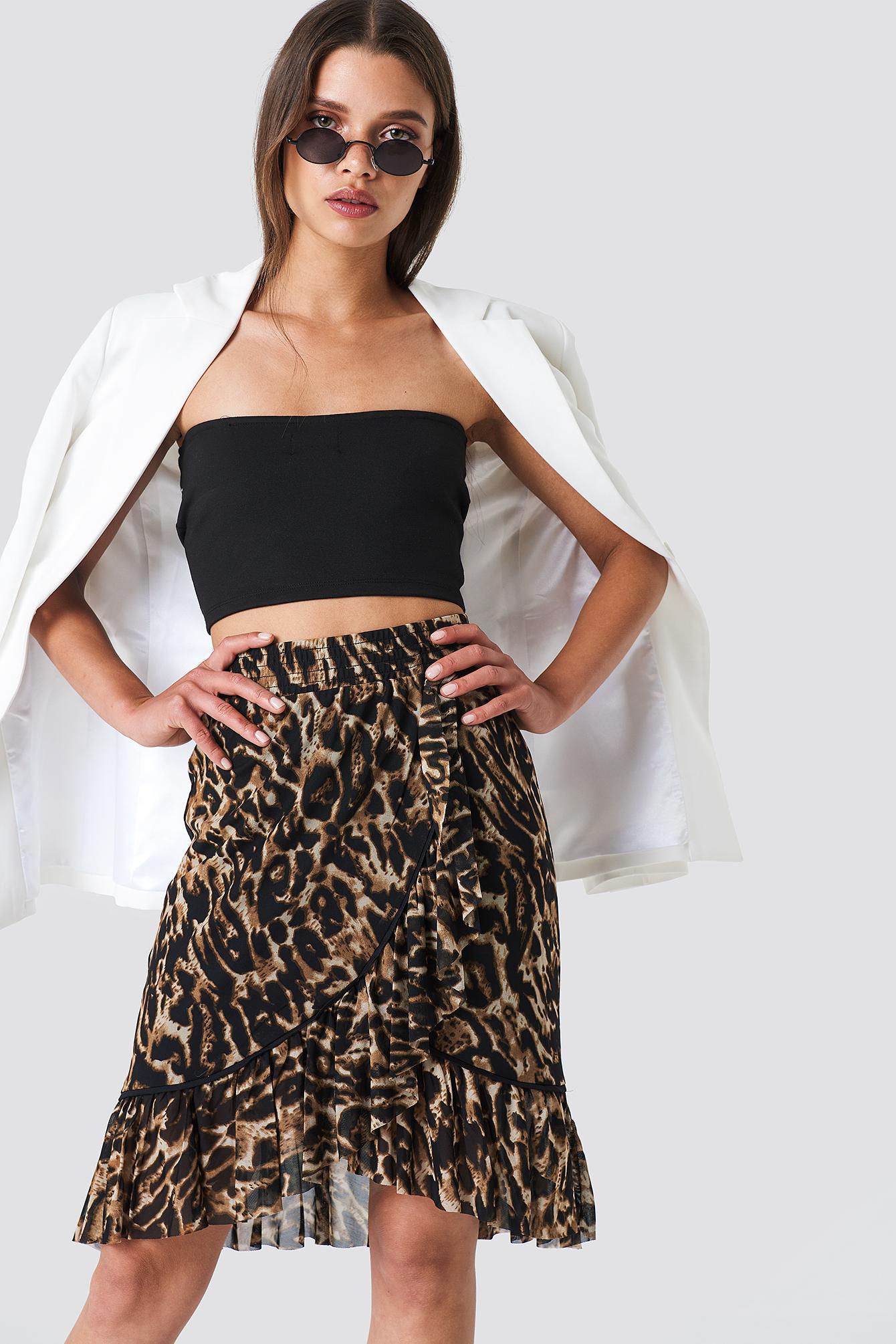 Kopertowa spódnica mini z siateczki NA-KD.COM