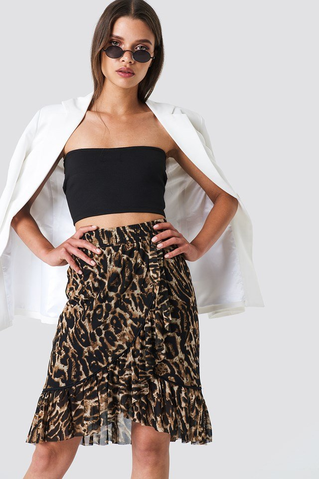 Mesh Overlap Mini Skirt Leoprint
