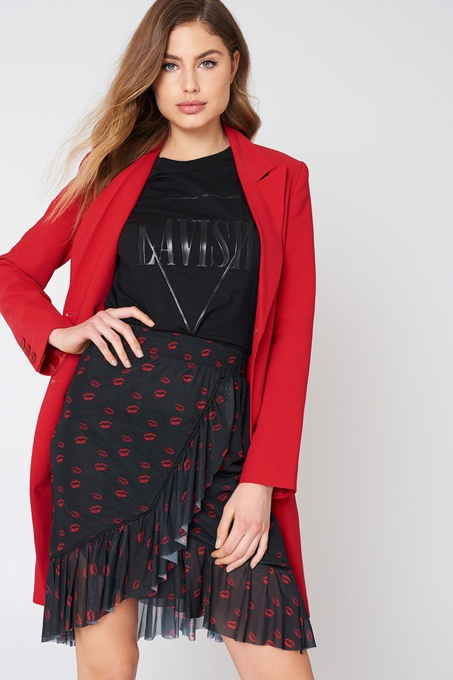 Mesh Overlap Mini Skirt Red Lip Print