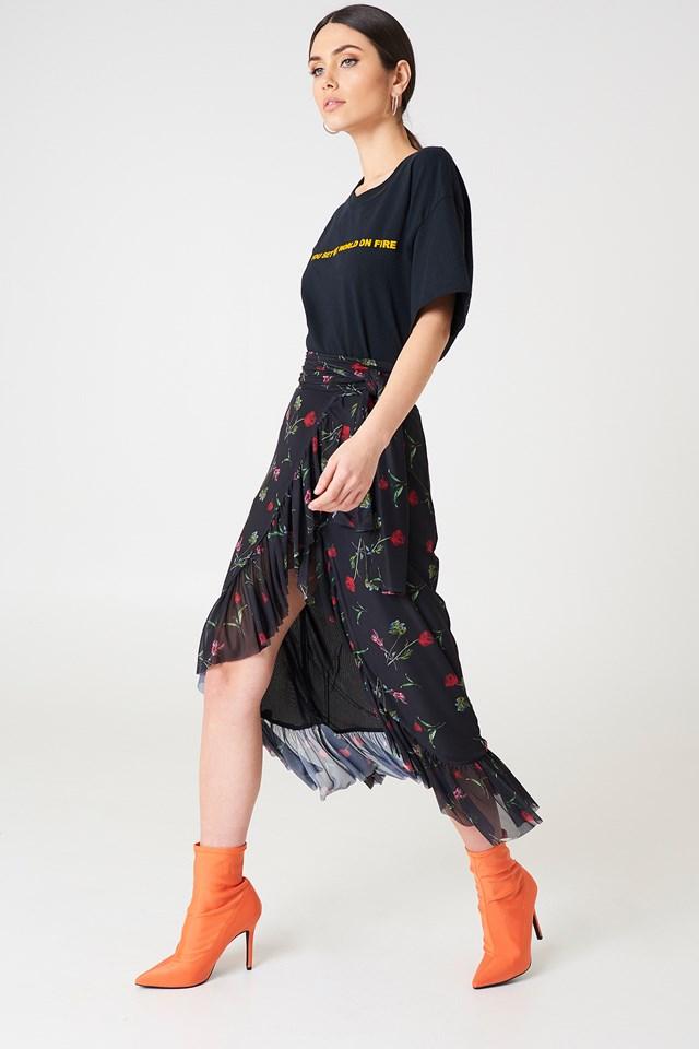Mesh Overlap Maxi Skirt Black Flower