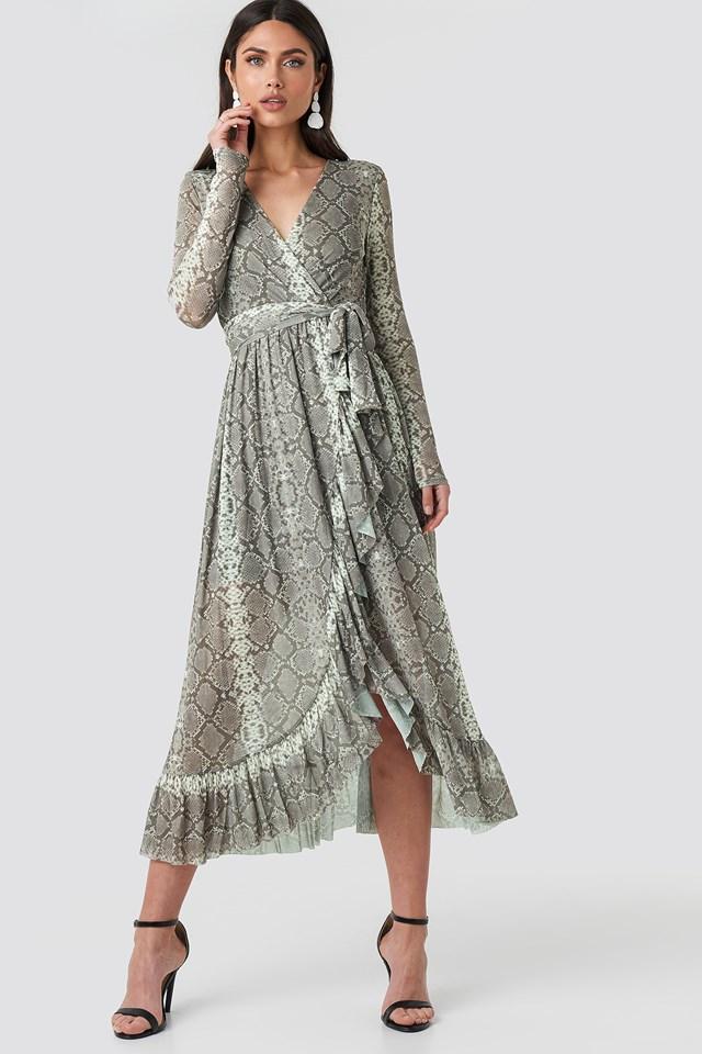 Mesh Printed Frill Maxi Dress Snake Print