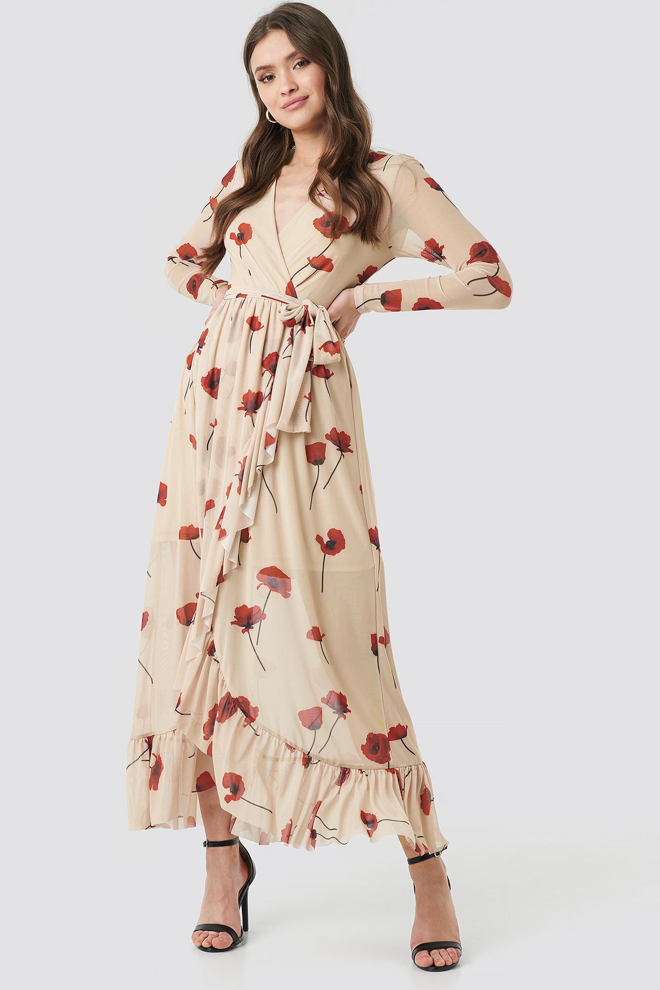 Mesh Printed Frill Maxi Dress NA-KD.COM