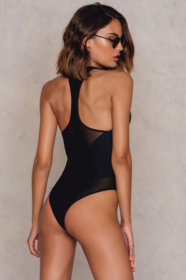 Mesh Racer Back Swimsuit Black