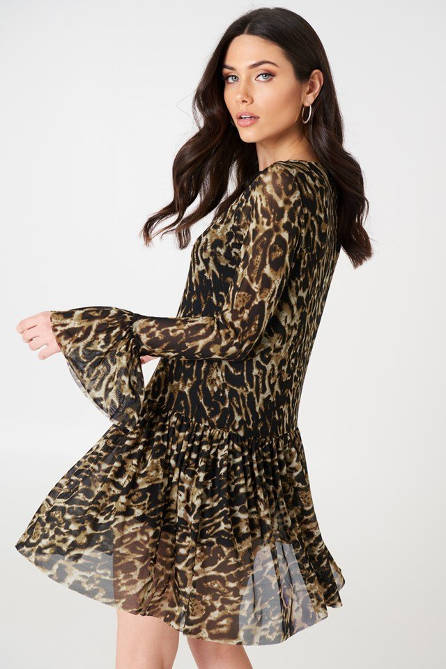 Mesh Round Neck Dress Leoprint