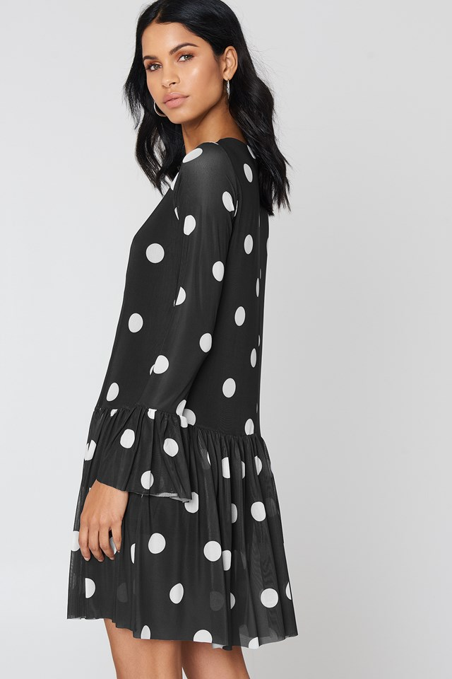 Mesh Round Neck Dress Black/White dots