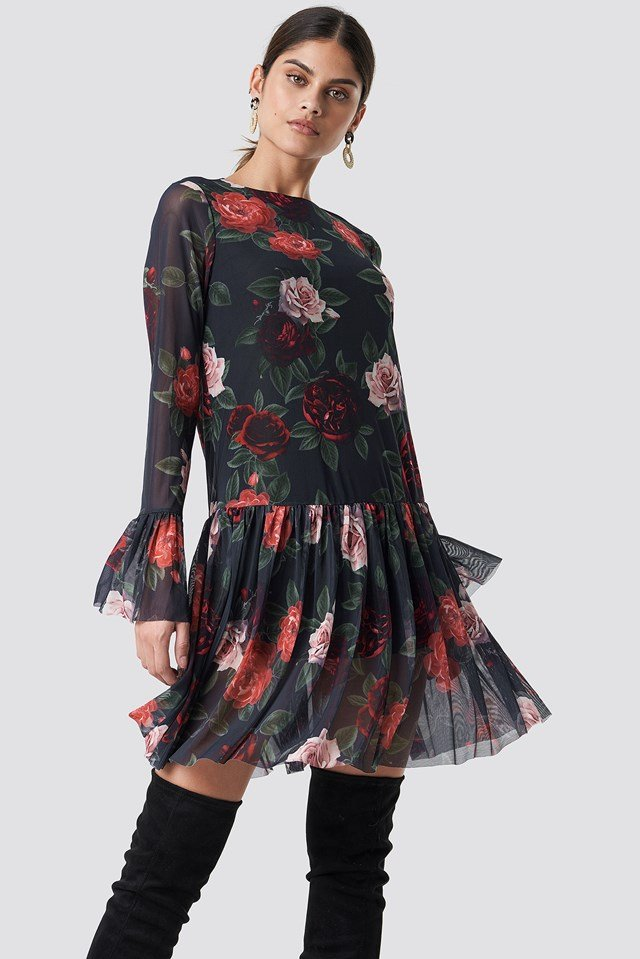 Mesh Round Neck Dress Dark Rose