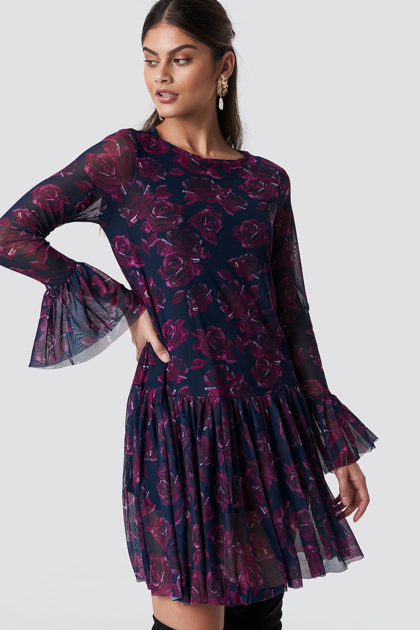 Mesh Round Neck Dress NA-KD.COM