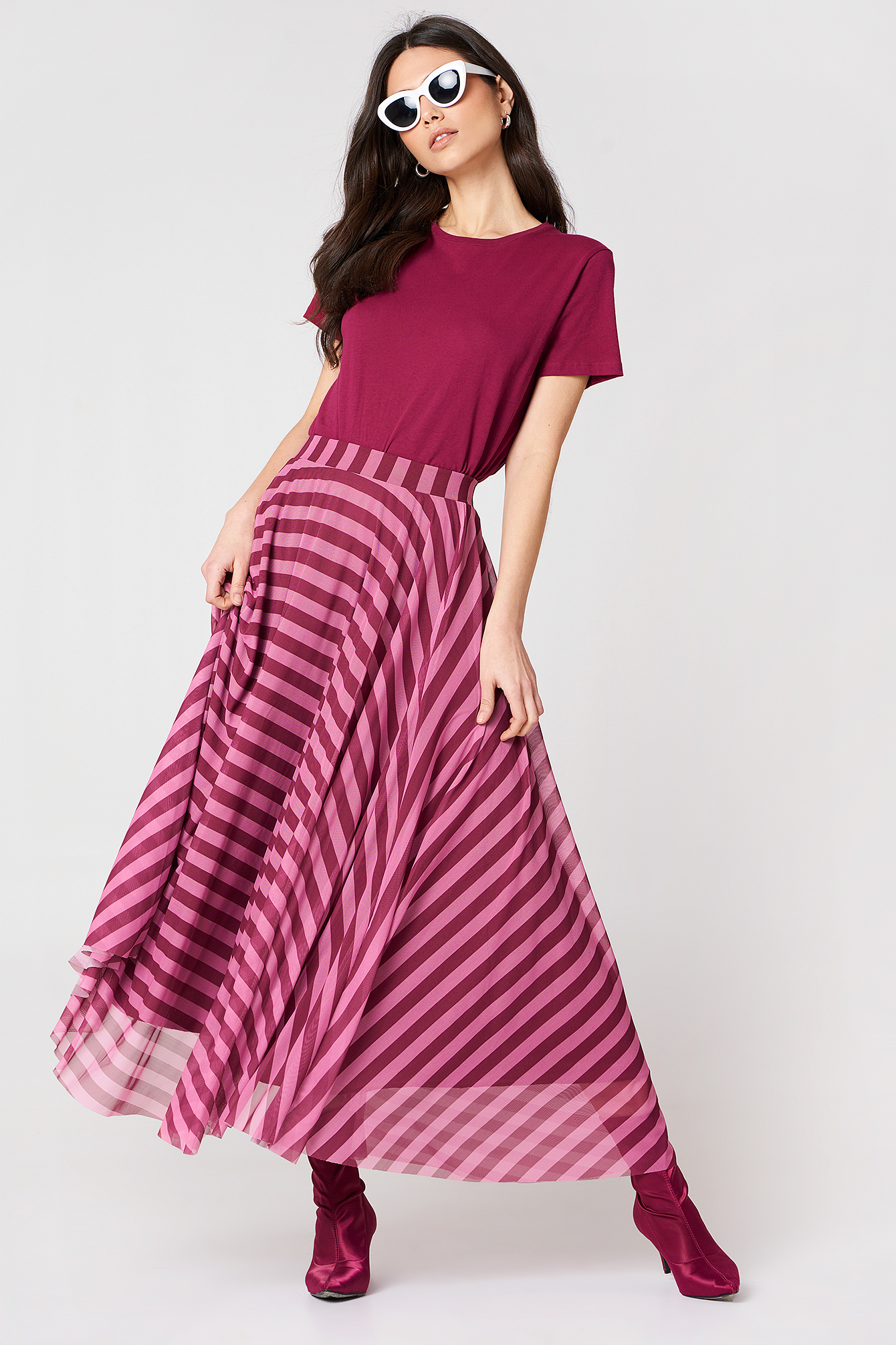 Striped Mesh Skirt NA-KD.COM