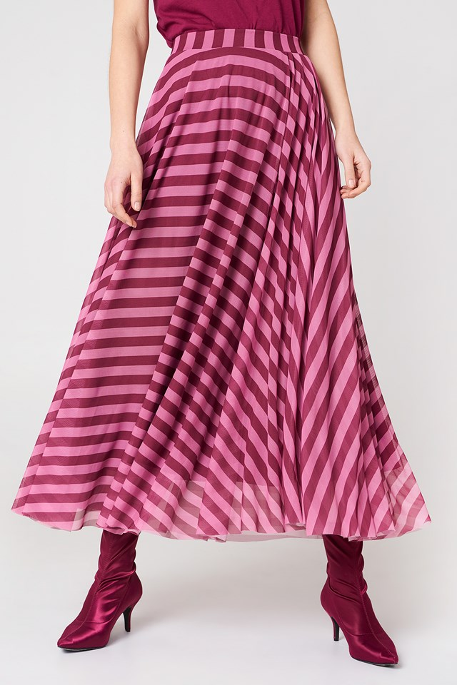 Striped Mesh Skirt Pink Stripe