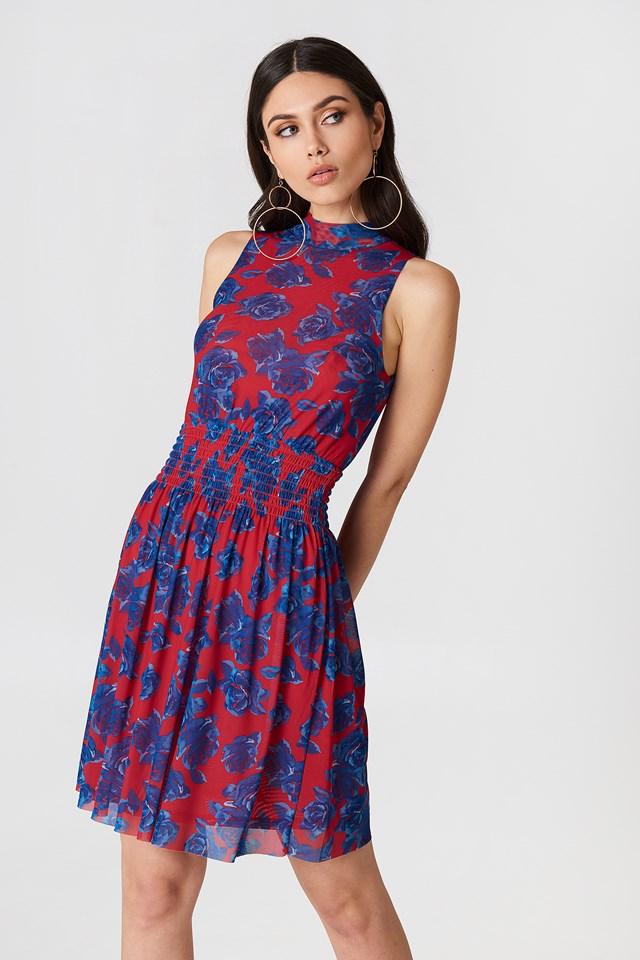 Mesh Smock Dress Red/Blue