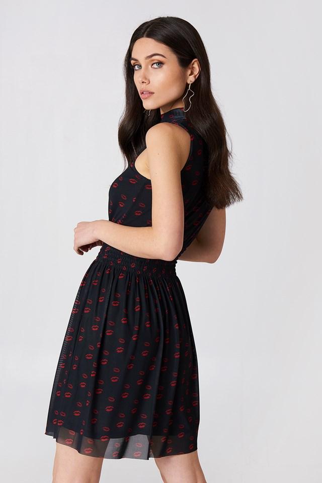 Mesh Smock Dress Red Lip Print