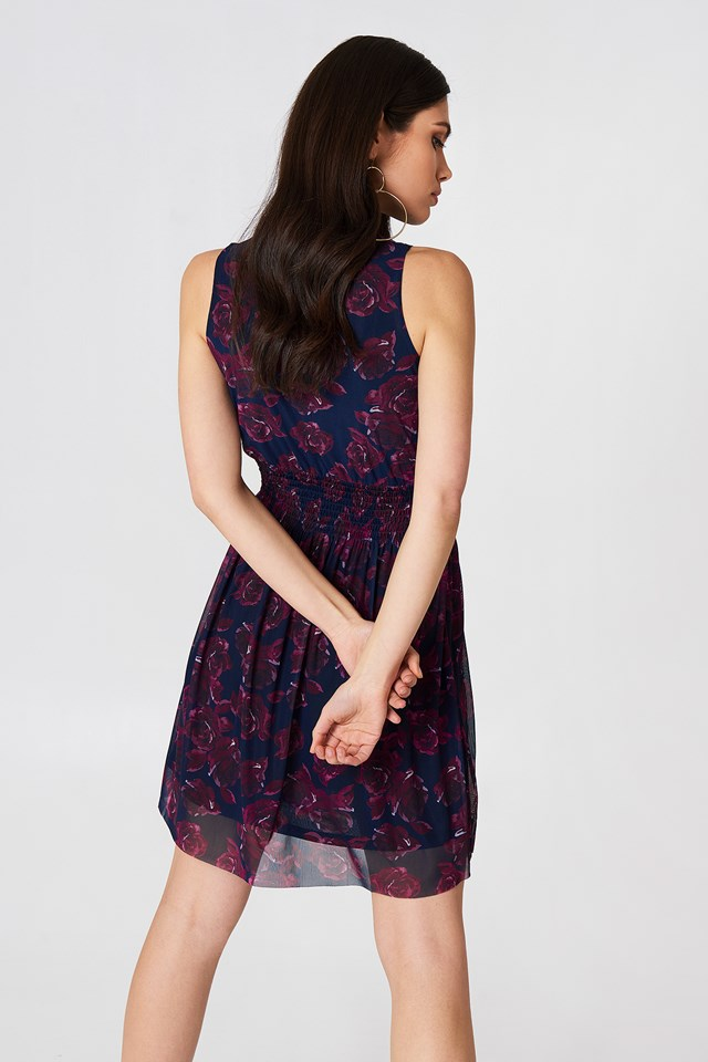 Mesh Smock Dress Navy/Purple