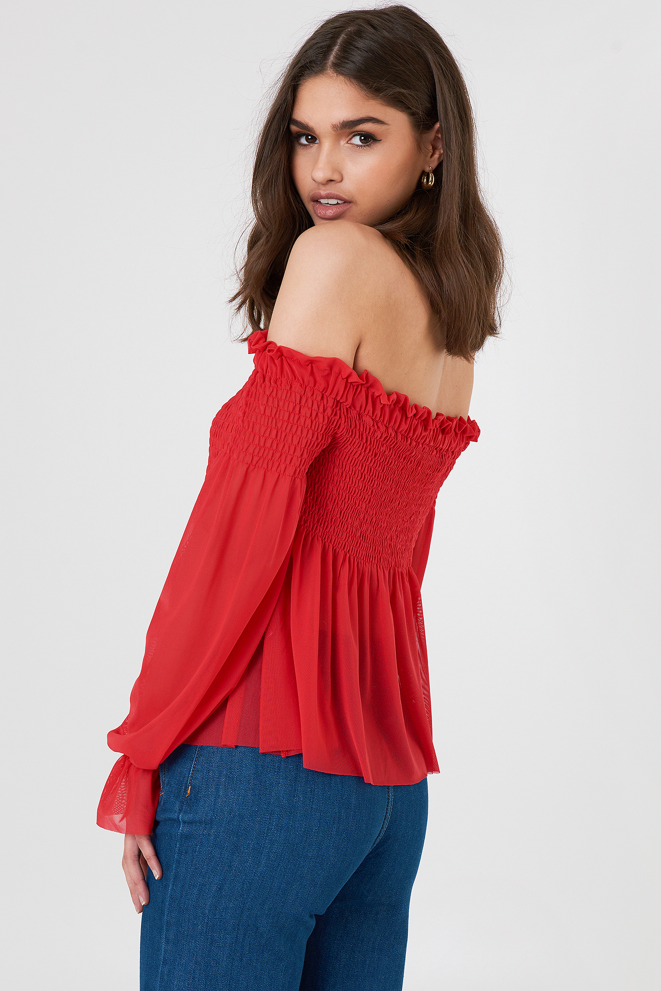 Mesh Smock Off Shoulder Top NA-KD.COM
