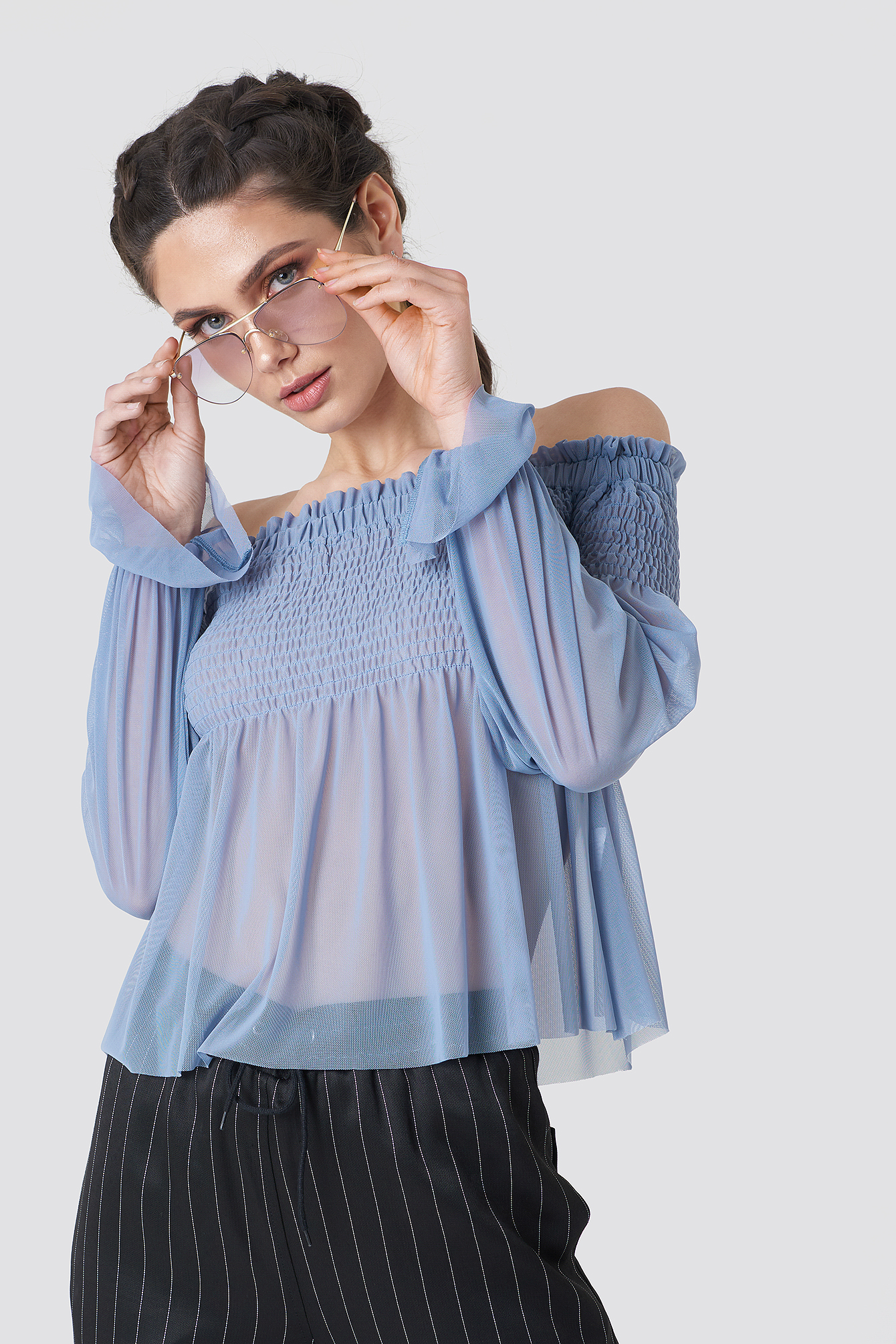na-kd party -  Mesh Smock Off Shoulder Top - Blue