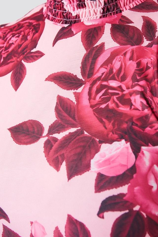 Mesh Smock Top Dusty Pink Rose