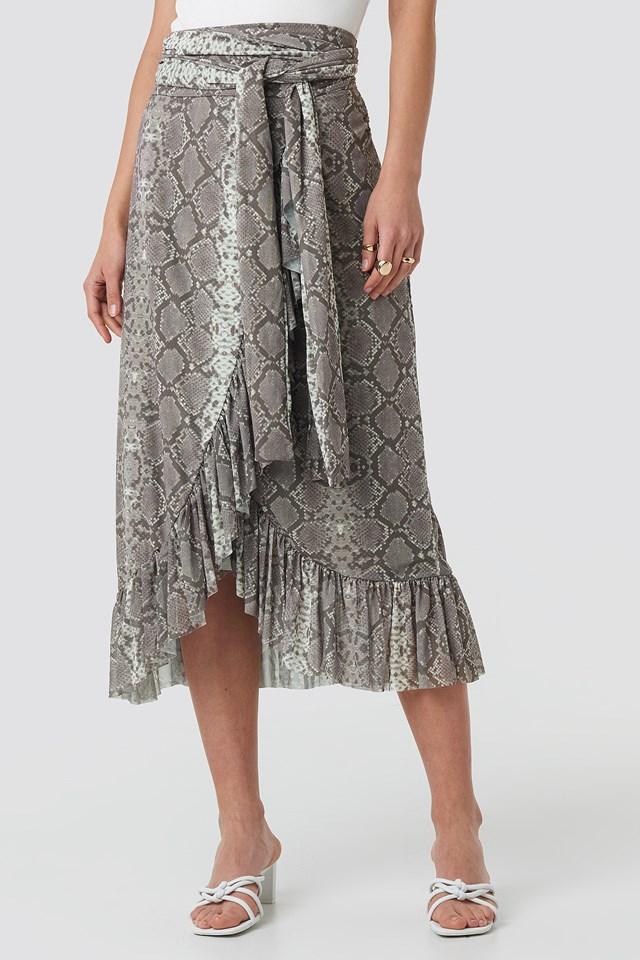 Mesh Tied Waist Ankle Skirt Snake Print