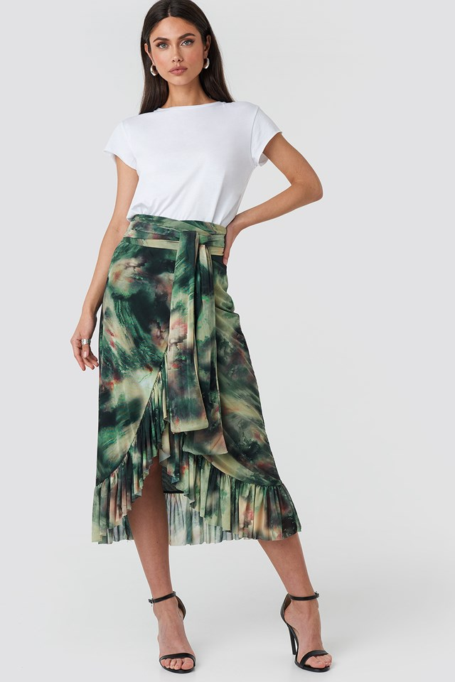 Mesh Tied Waist Ankle Skirt Aquarelle Green Print