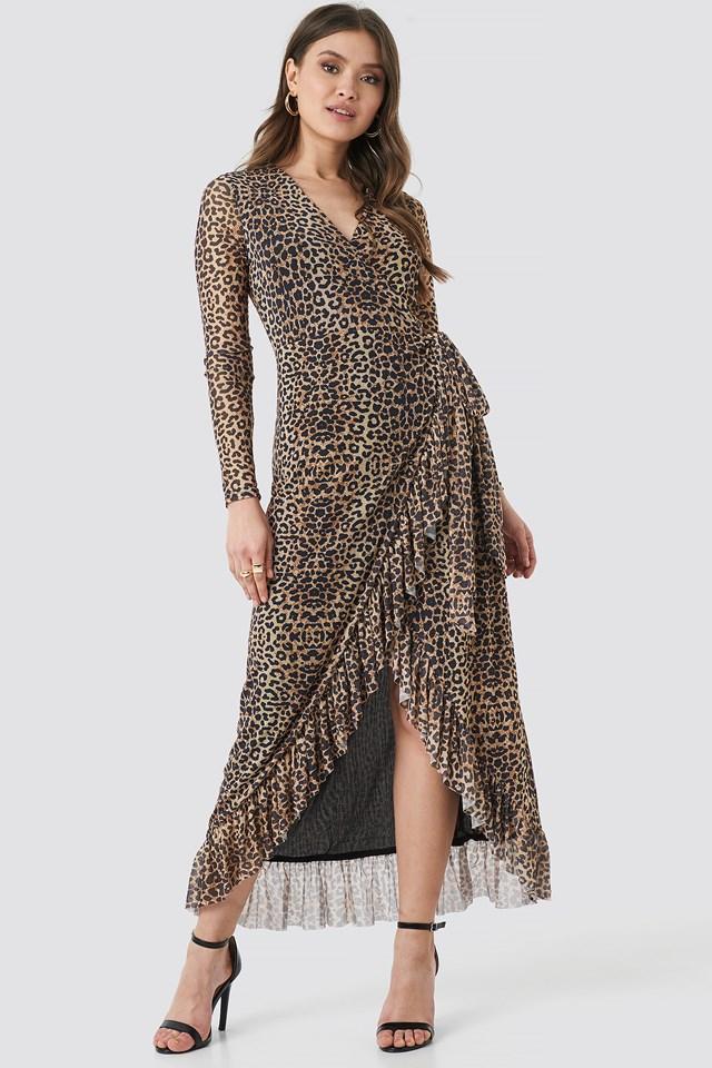 Mesh Wrap Waist Dress Leopard