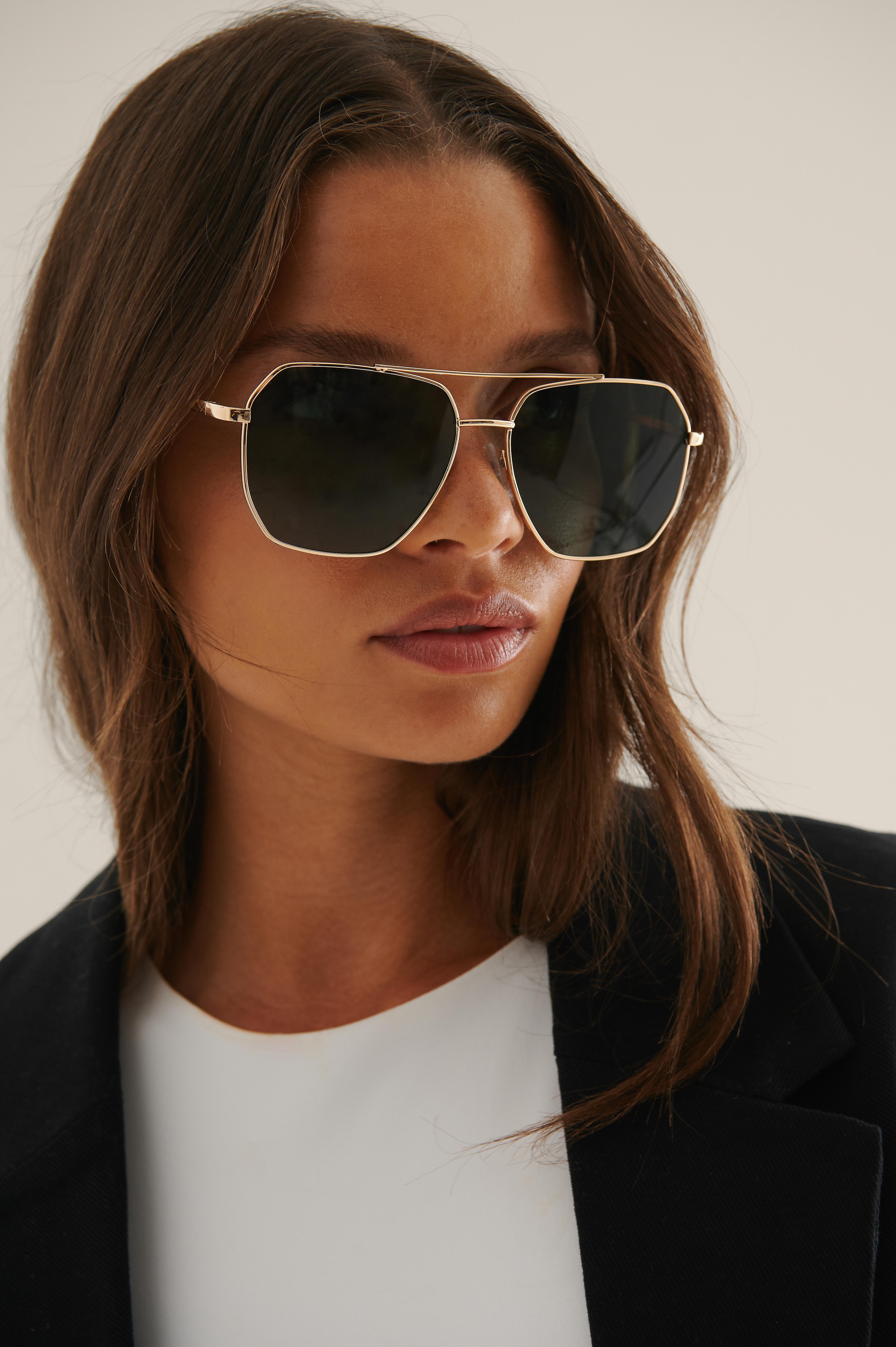 na-kd accessories -  Spitze Metall-Pilot-Sonnenbrille - Black