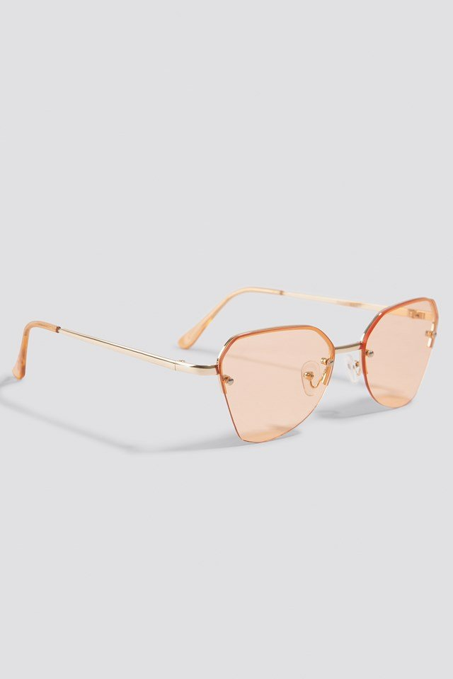 Angular Metal Cat Eye Sunglasses Orange