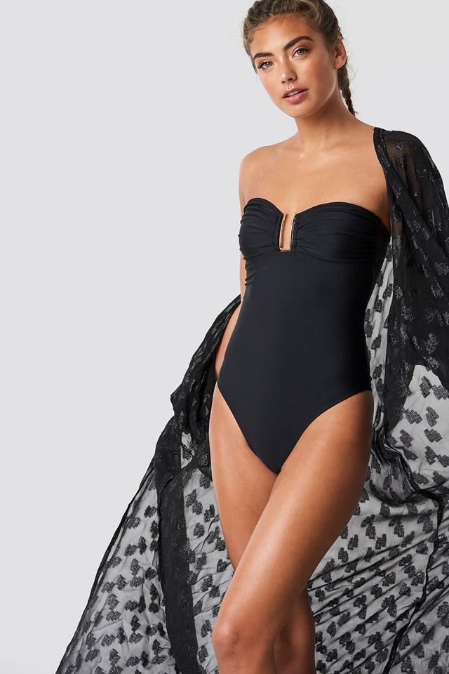 Metal Detail Bandeau Swimsuit Black