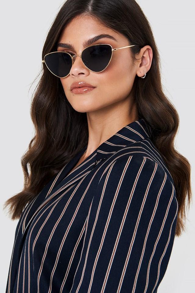 Metal Frame Cat Eye Sunglasses Black