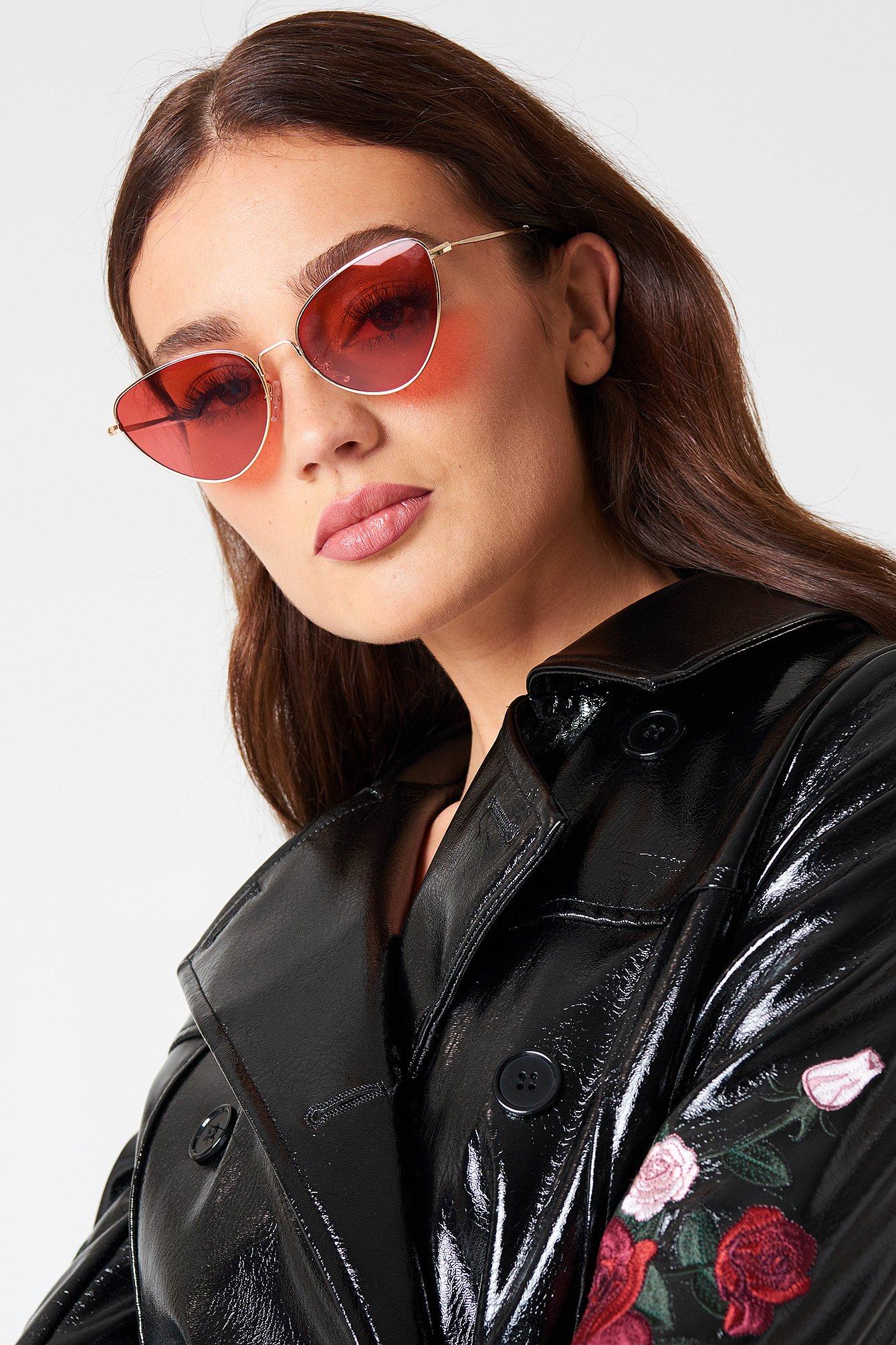 NA-KD Accessories Metal Frame Cat Eye Sunglasses - Red FxDl0U