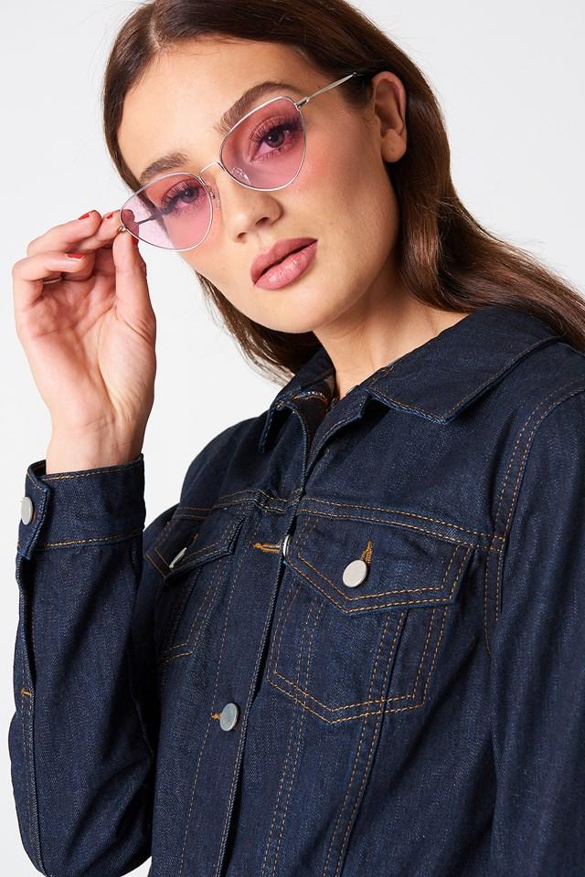 Metal Frame Cat Eye Sunglasses Pink
