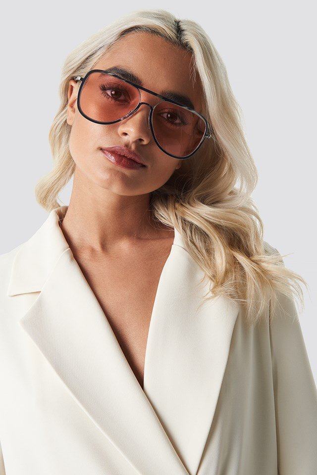 Metal Frame Pilot Sunglasses Light Pink
