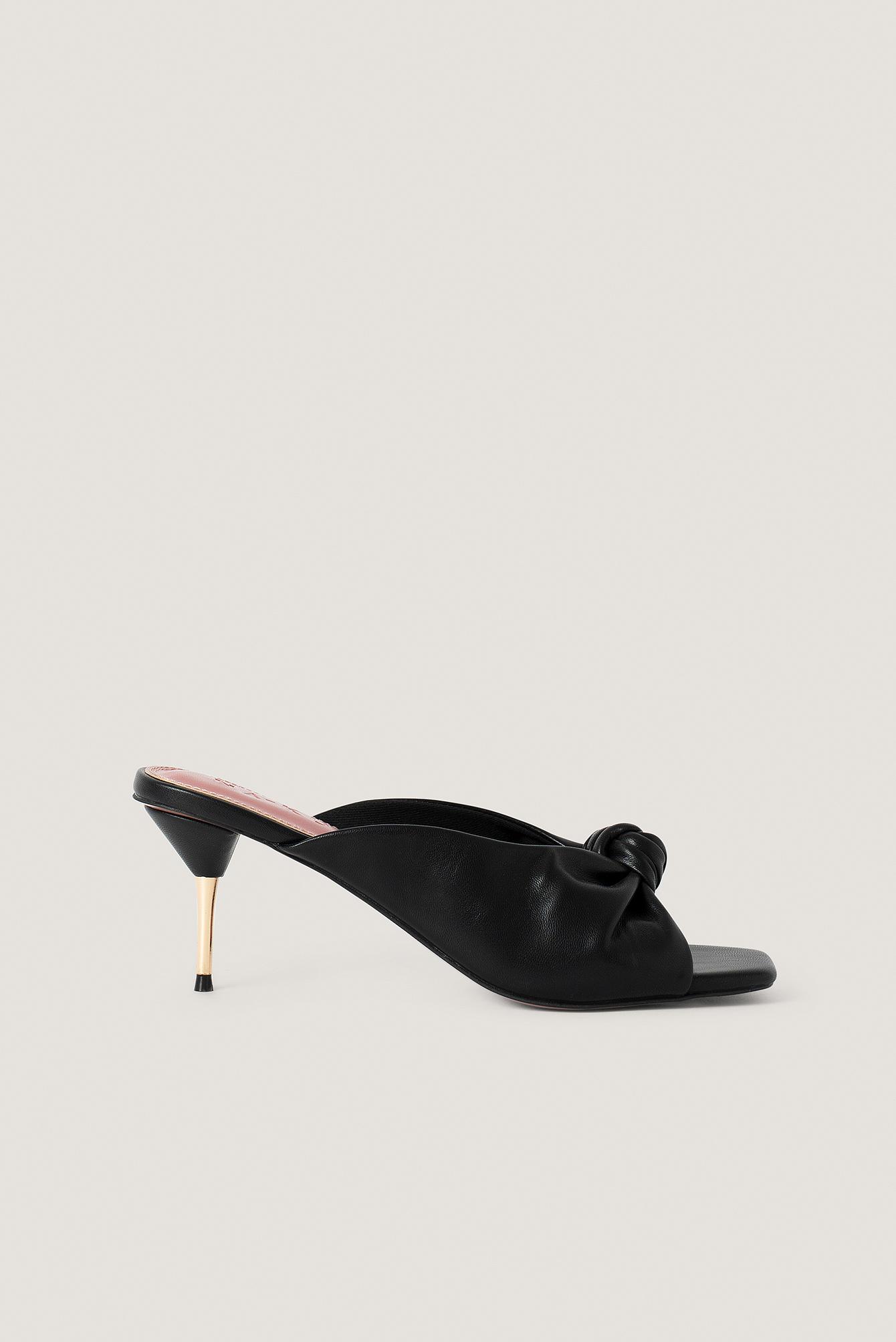NA-KD Shoes Metal Heel Knot Mules - Black