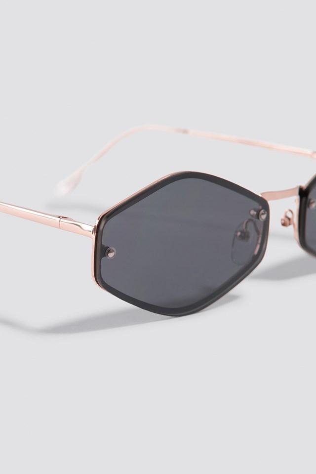 Metal Hexagon Sunglasses Black