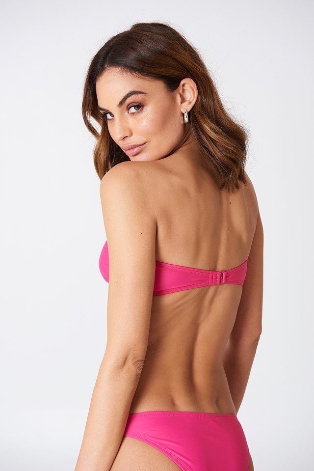 Metal Loop Bandeau Bikini Strong pink