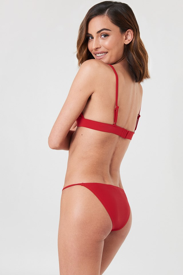 Metal Loop Bikini Bra Red