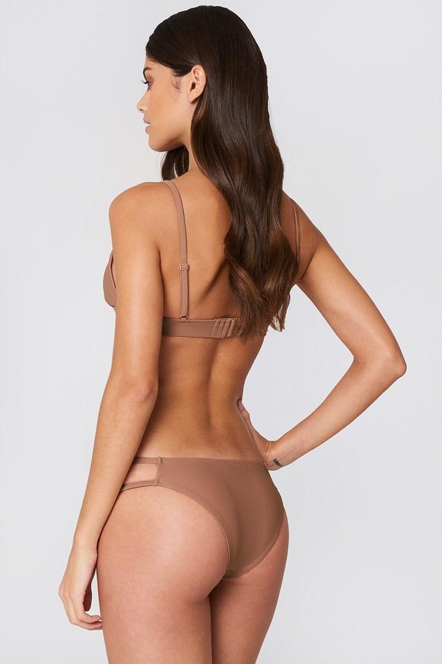Metal Loop Bikini Bra Dusty Dark Pink
