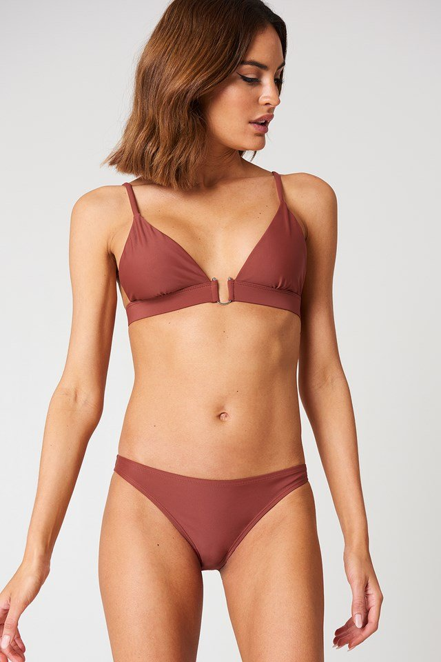 Metal Loop Bikini Bra Dusty Red