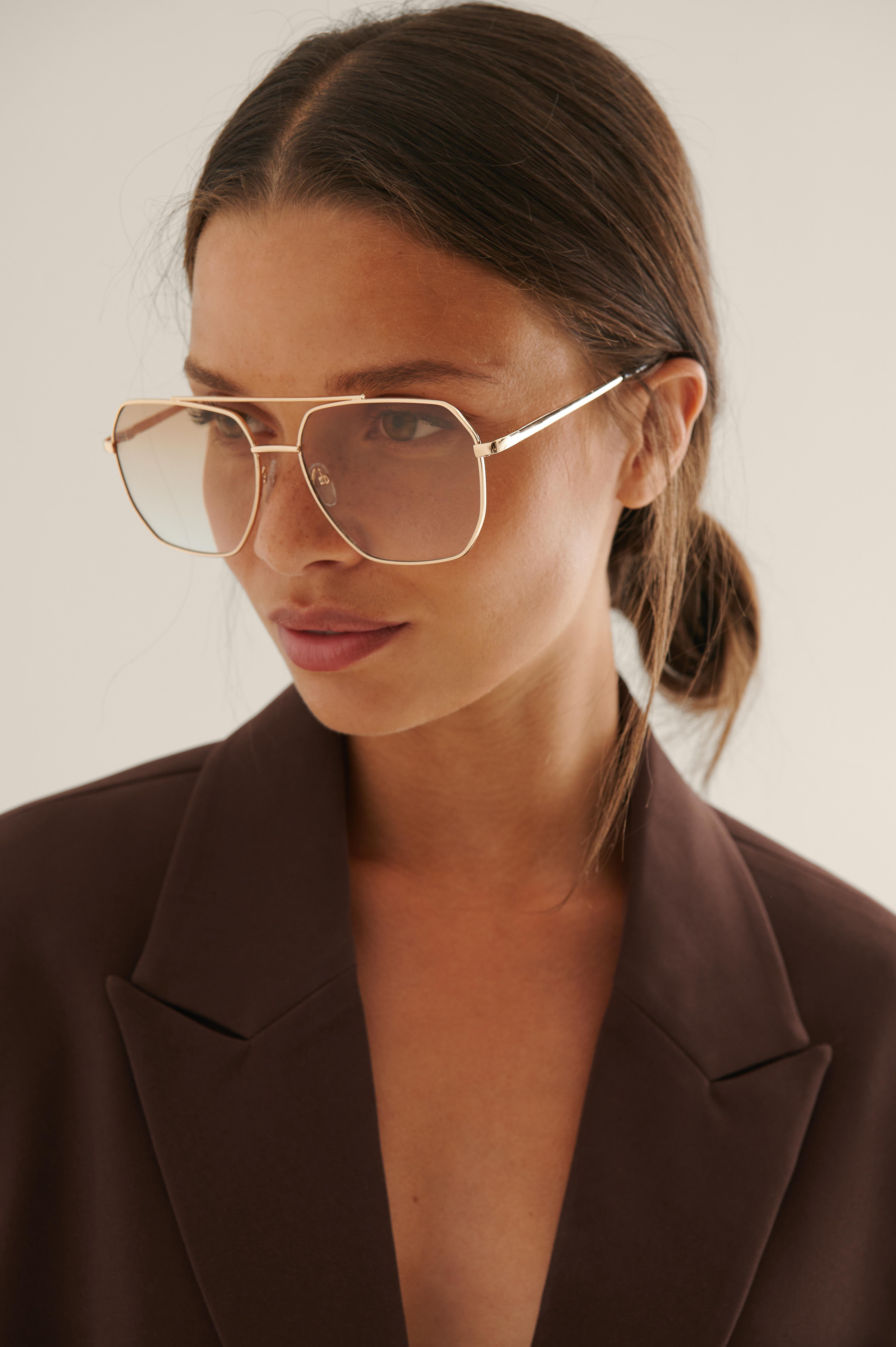 na-kd accessories -  Spitze Metall-Pilot-Sonnenbrille - Brown