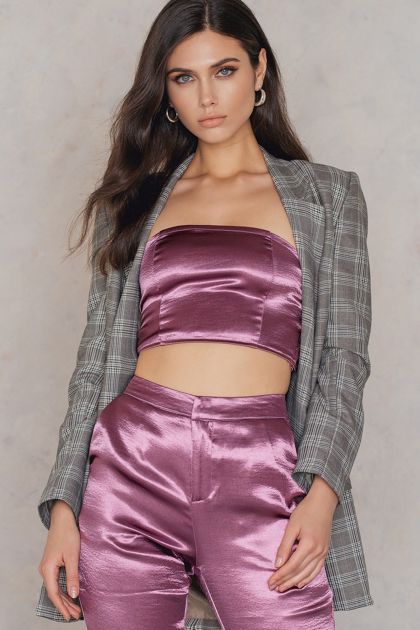 na-kd party -  Metallic Bandeau Top - Pink,Purple
