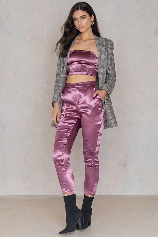 Metallic Bandeau Top Dusty Purple