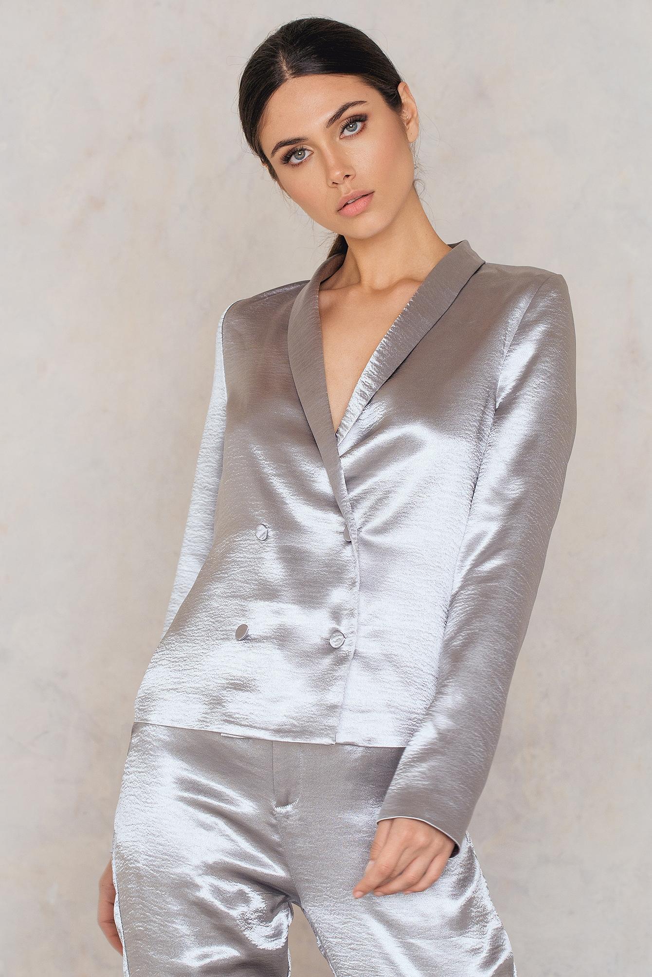 na-kd party -  Metallic Blazer - Silver