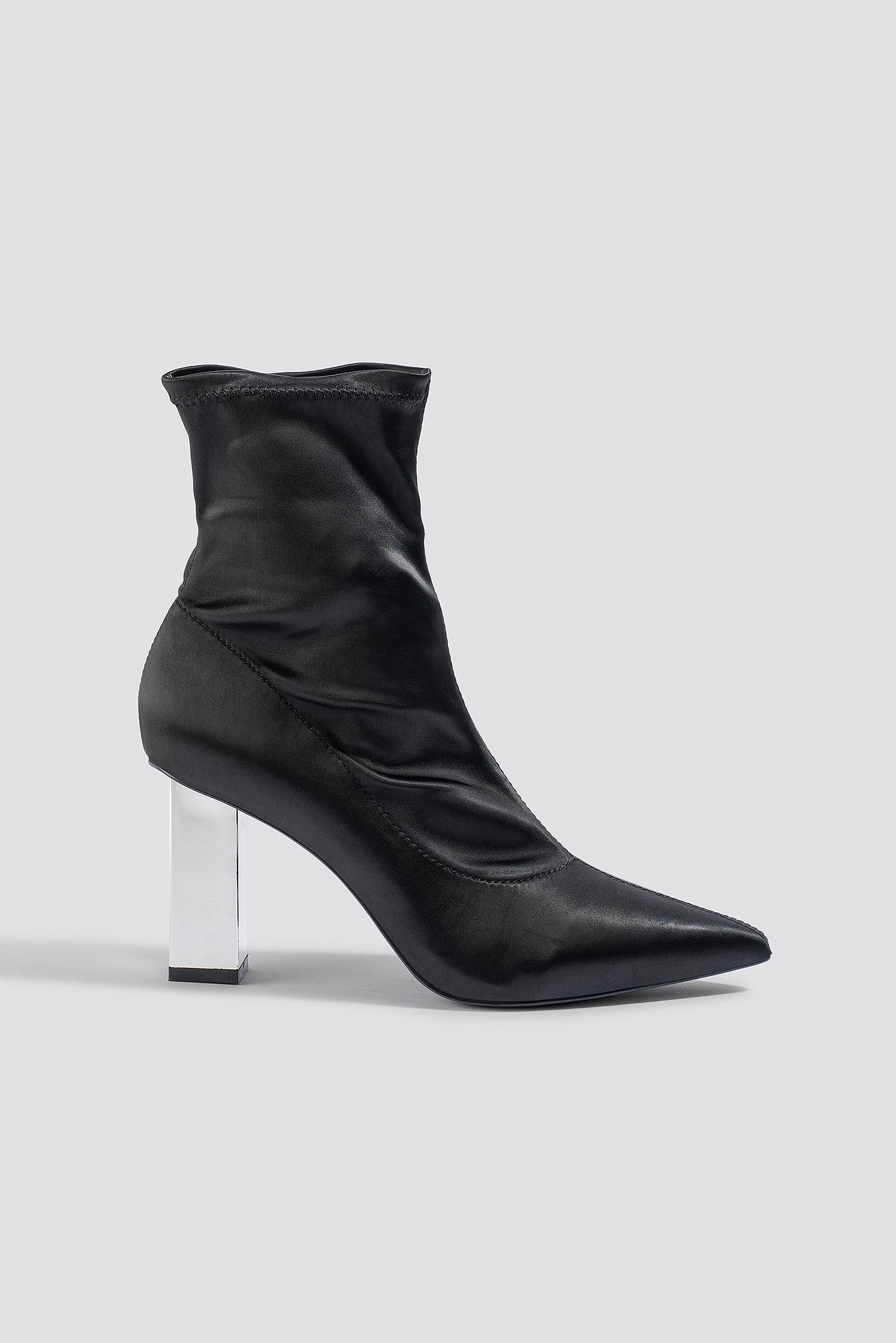 na-kd shoes -  Metallic Block Heel Sock Boots - Black