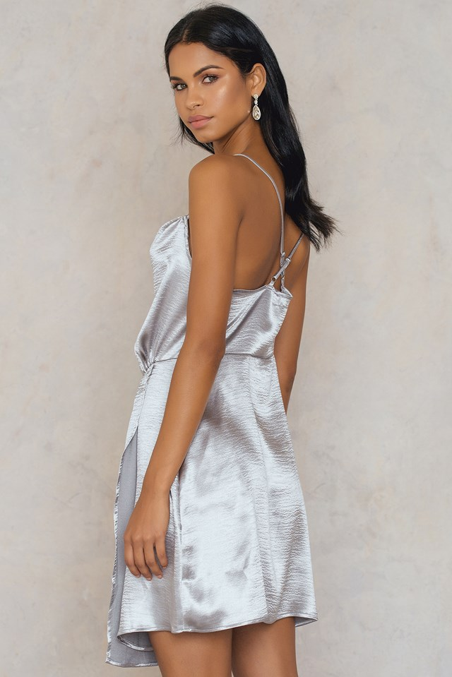 Metallic Cowl Neck Dress Silver